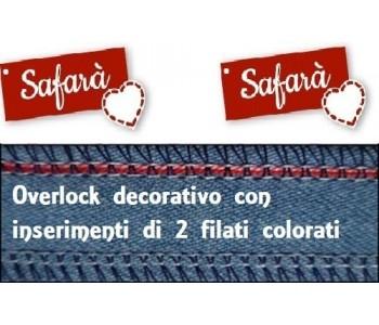 Overlock decorativo con inserimento di 2 filati colorati